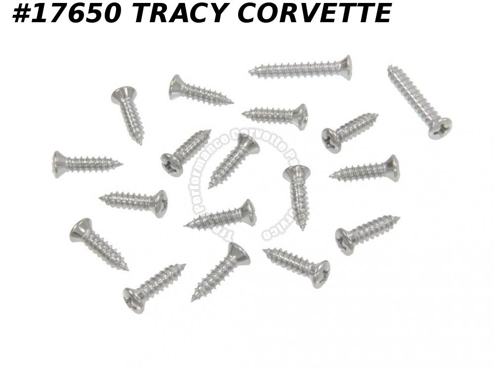 1963-1967 Corvette Windshield Moulding Screw Set - Coupe Inner - 18 Pieces