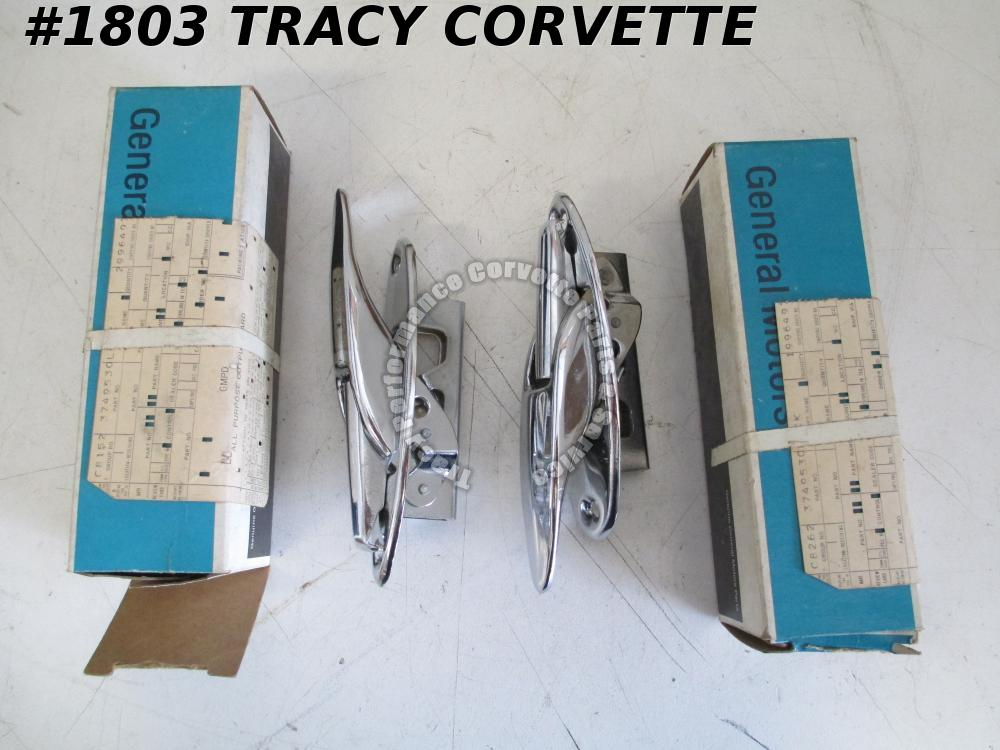 1957L-1962 Corvette NOS 3749530 Soft Top Rear Latches w/Holes/Pr 57L 58 59 60 61