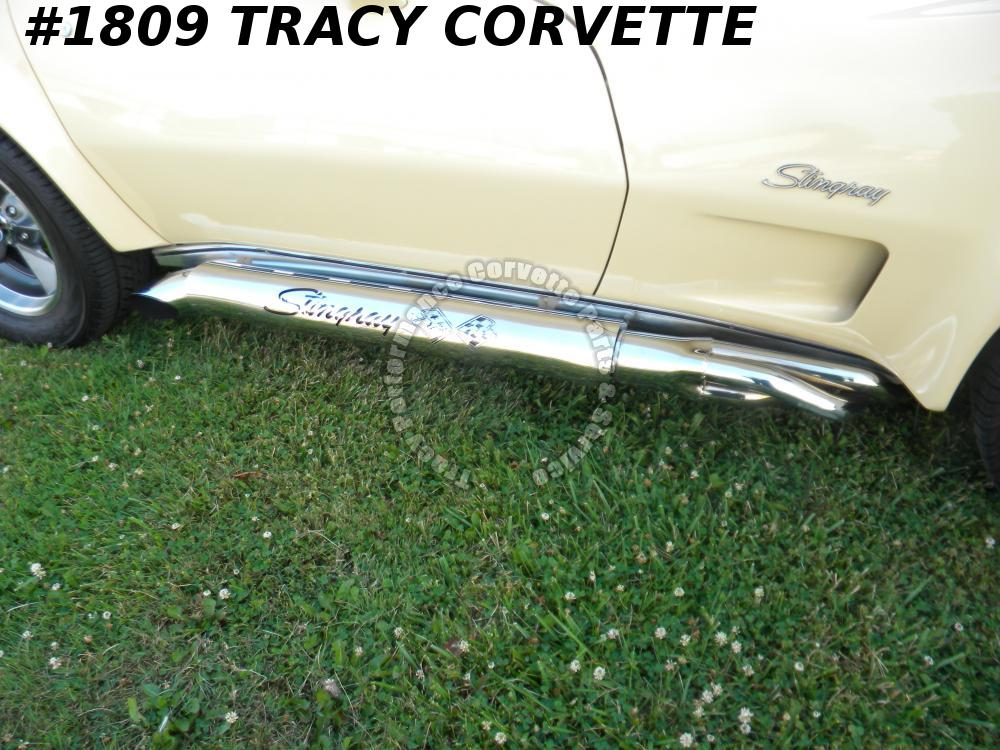 1963-82 Corvette New SS Side Exhaust Shields w/Stingray/Cross Flags/Hooker/Dougs
