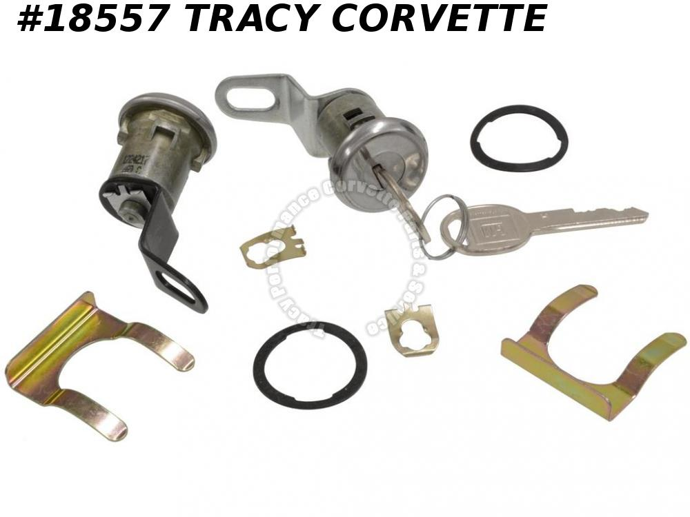 1974-1977 Corvette Door Lock - With Pawls And Keys ( Oval Key )