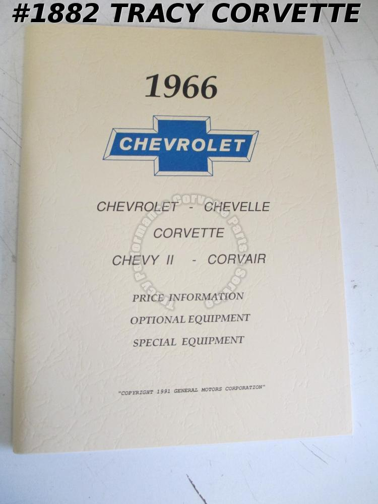 1966 Chevrolet Price Info Optional & Special Equipment Chevelle Corvette Corvair