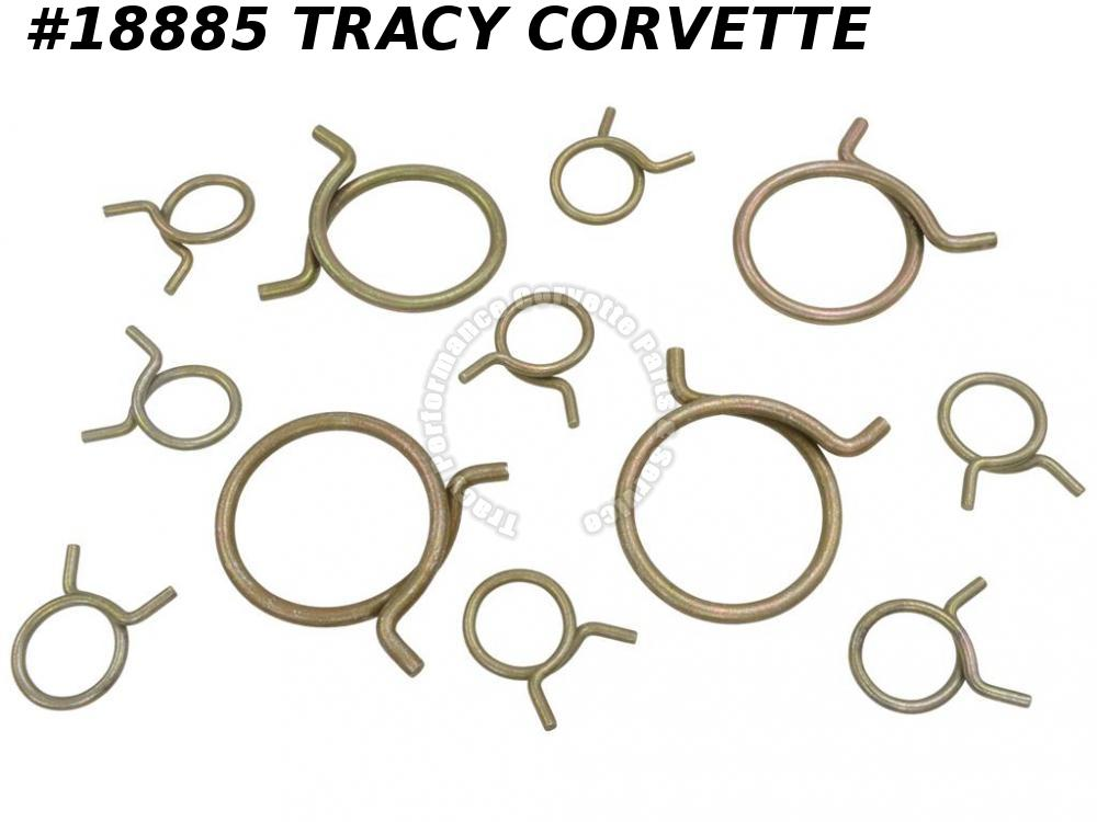 1955-1958 Corvette Hose Clamp Set - Radiator And Heater - 12 Pieces