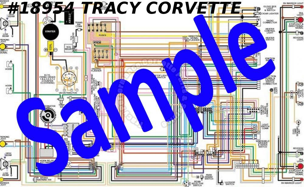 "1953-1955 Corvette Wiring Diagram Full Color Laminated 11"" X 17"" Early 55 6-Cyl"