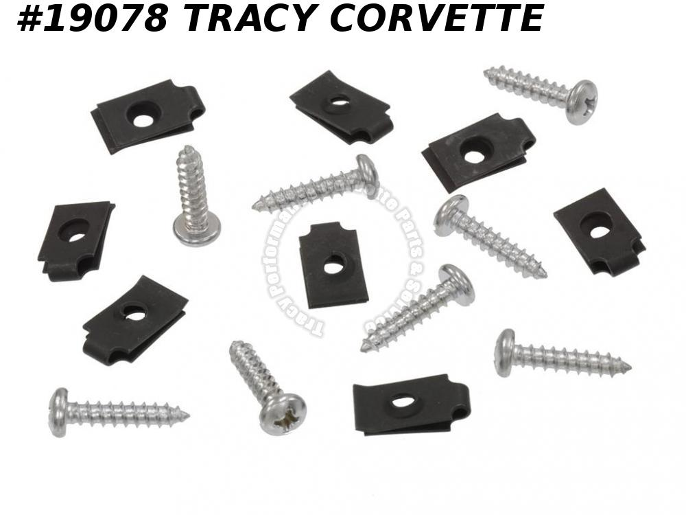 1970-1973 Corvette 9420137 4816192 Exhaust Bezel Screws with J-nuts  16 Pieces