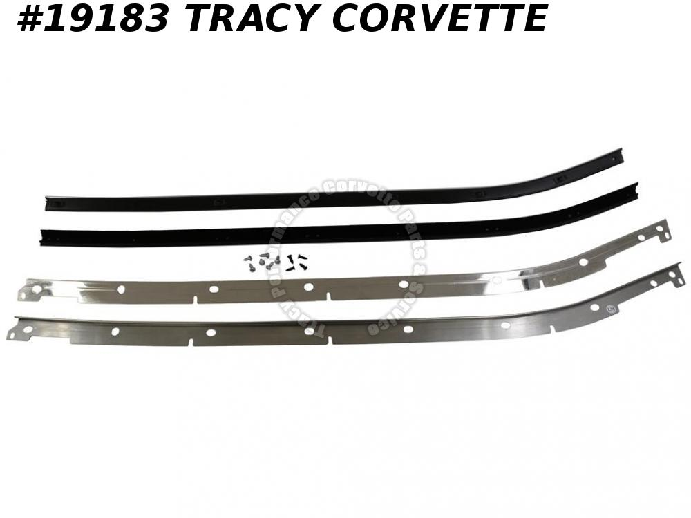 1969-1975 Corvette Convertible Door Outer Window Seals w/ Stainless moulding Kit