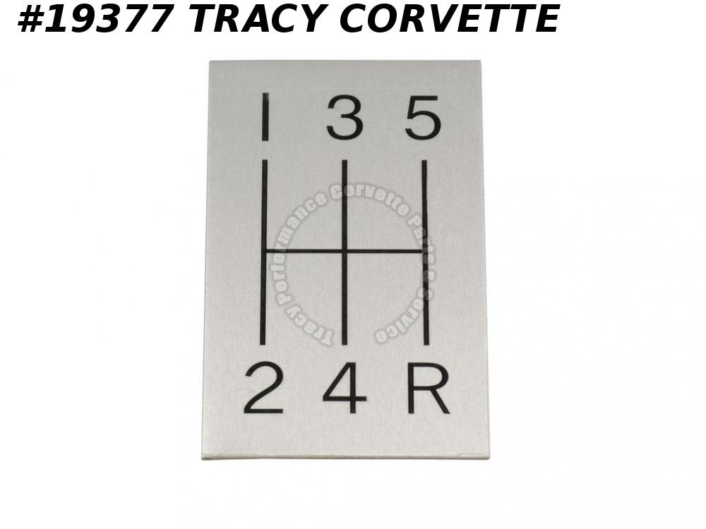 1963-1967 Corvette 5 Speed Manual Shift Pattern Indicator Plate on Stock Console