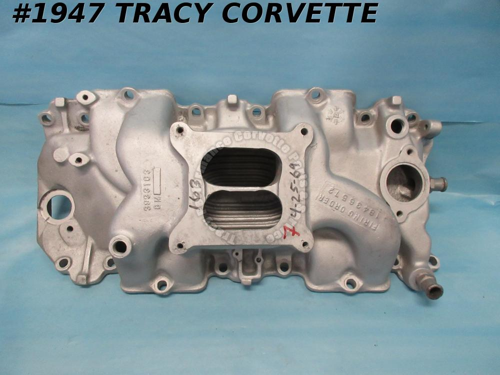 1965-1974 Chevy Used 3933163 BBC Square Port Alum High Rise Intake-7 Date Choice