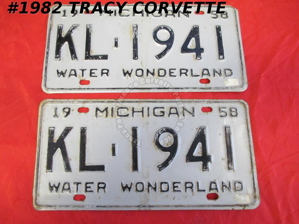 "1958 58 Michigan Used Orig Water Wonderland License Plates Pair KL 1941 12"" X 6"""