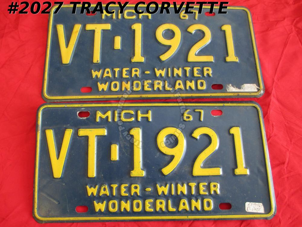 "1967 67 Michigan Used Original Vintage Metal License Plates VT-1921 12"" x 6"""