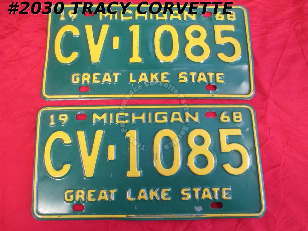 "1968 68 Michigan Used Original Vintage Metal License Plates Pair CV-1085 12""X 6"""