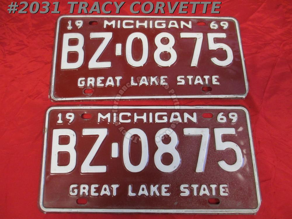 "1969 Pair Used Original Michigan License Plates BZ 0875 Great Lake State 12""X 6"""