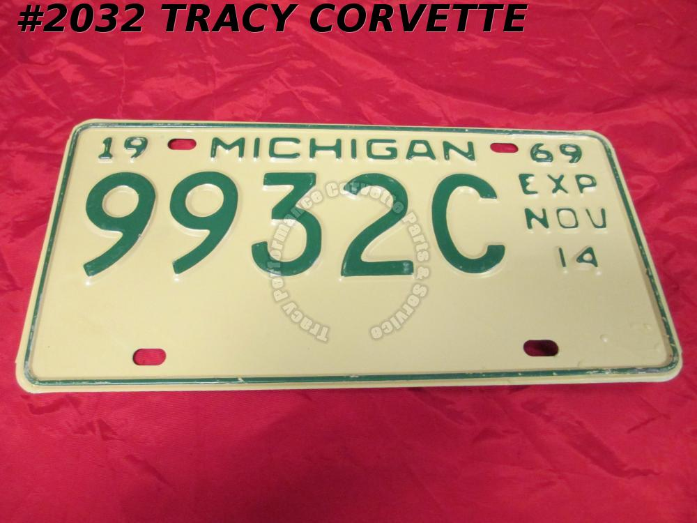 "1969 New Original Michigan License Plate 9932C Exp Nov 14 Not Used 12"" x 6"""