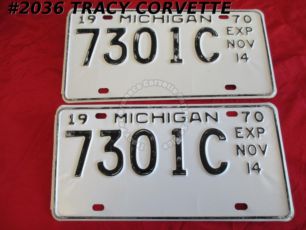 "1970 Pair Used Original Michigan License Plates 7301C Exp Nov 14 12"" X 6"""