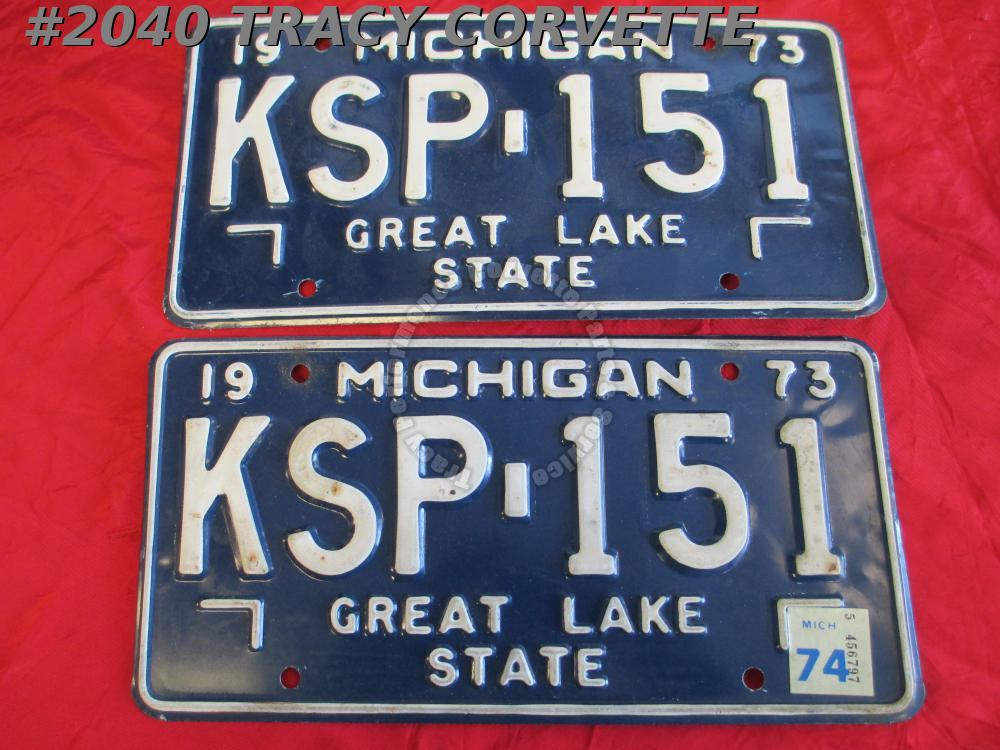 "1973 Pair Used Original Michigan License Plates KSP 151 Great Lake State 12""X 6"""