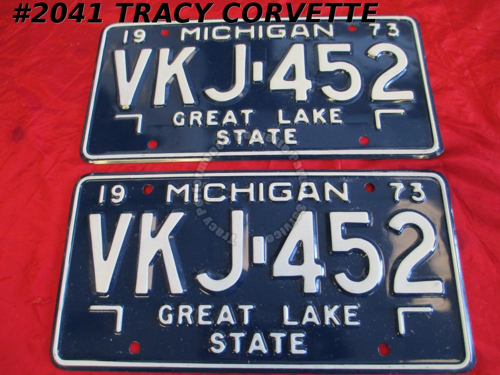 "1973 73 New Original Michigan License Plates Pair VKJ452 Never Used 12"" X 6"" NOS"