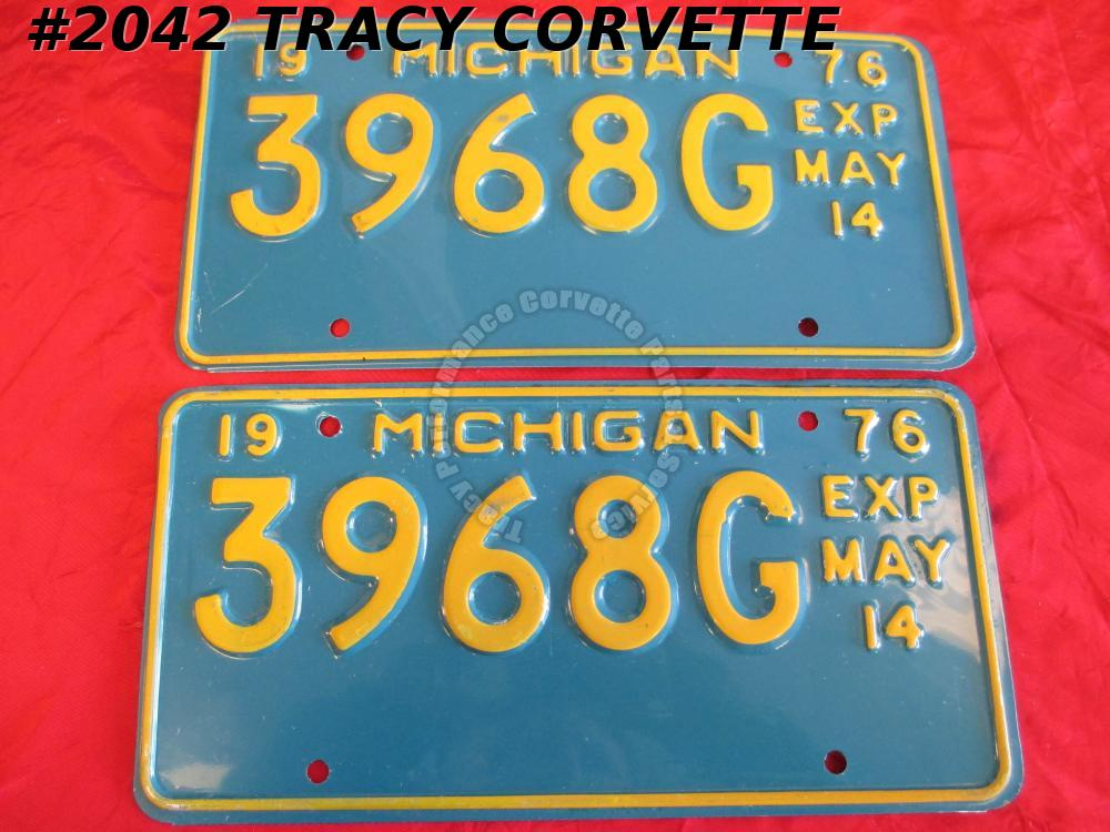"1976 76 Michigan Original License Plates Pr 3968G Exp May 14 Not Used 12""X 6"""