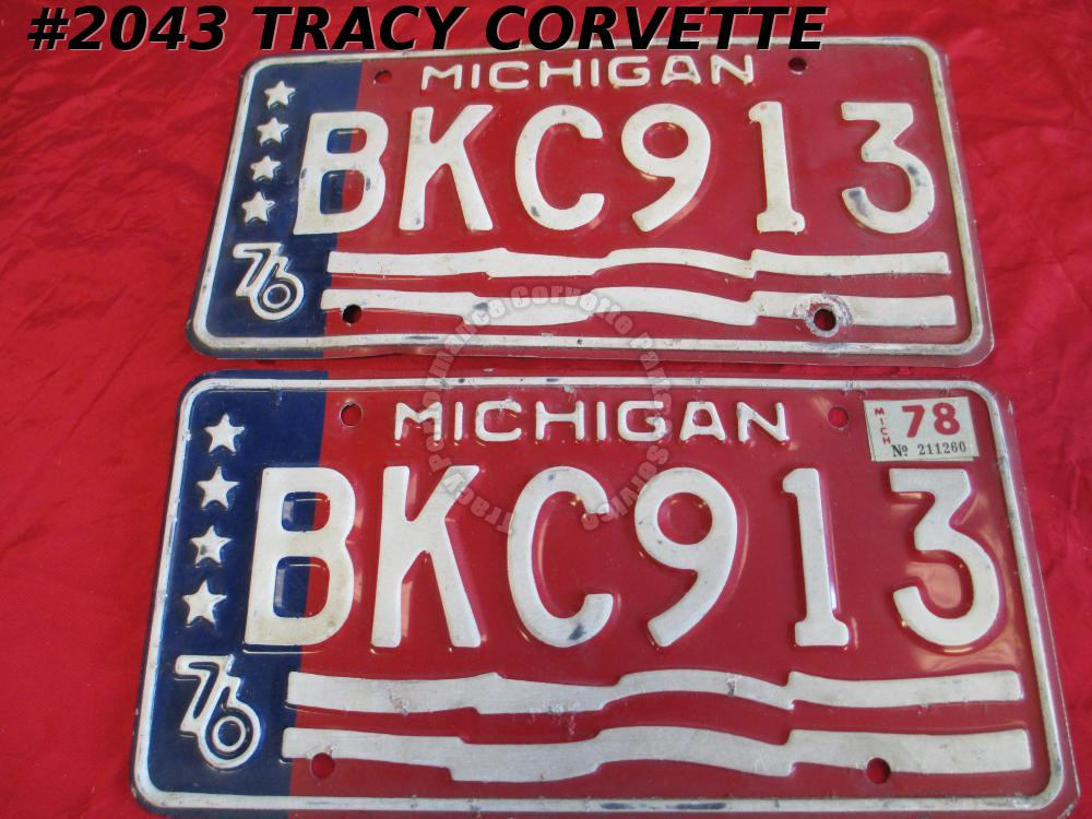 "1976 Michigan Used Original Vintage Metal License Plates Pair BKC913 12"" X 6"""