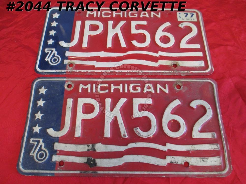"1976 76 Michigan Used Original Vintage License Plates Pair JPK562 12"" X 6"""