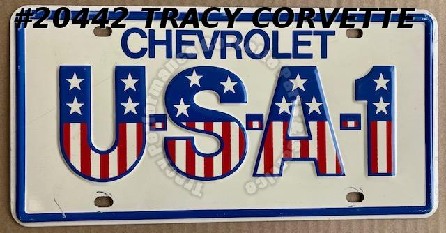 1976 Chevrolet Original Vintage Steel Red White Blue USA-1 License Plate