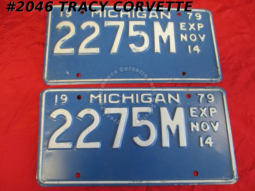 "1979 79 Michigan Used Vintage Metal License Plates Pr 2275M Exp Nov 14 12"" X 6"""