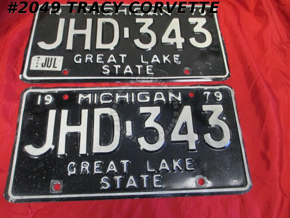 "1979 79 Michigan Used Original Vintage Metal License Plates Pr JHD-343 12"" x 6"""