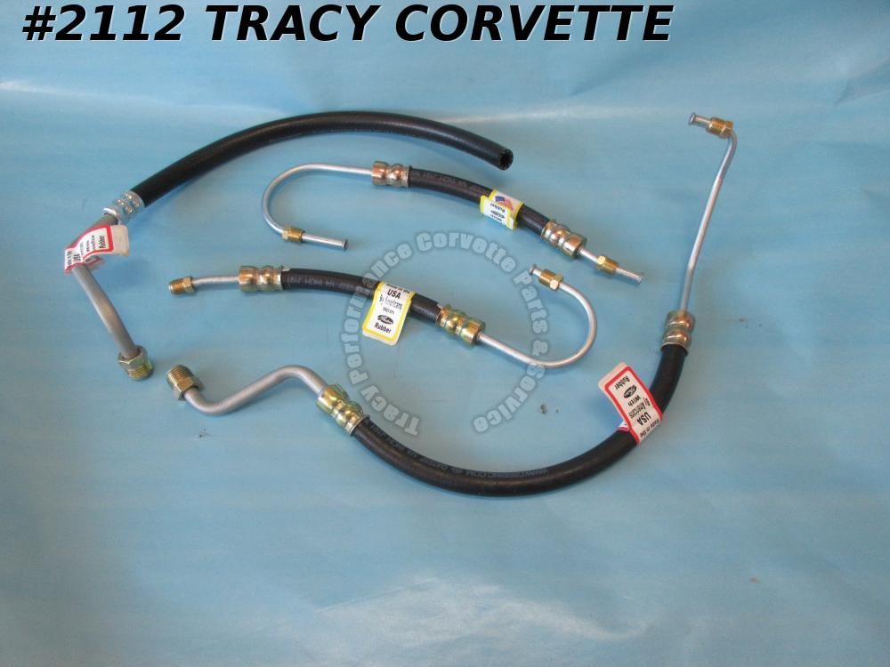 1963-1979 Corvette Power Steering Hose Kit Small Block 4 Piece Set    USA Made