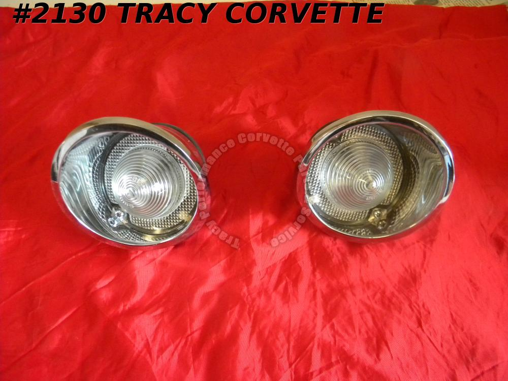 1963-1966 Corvette NOS 910427 910428 White Backup Lamp Light Assm/Pair 1964 1965