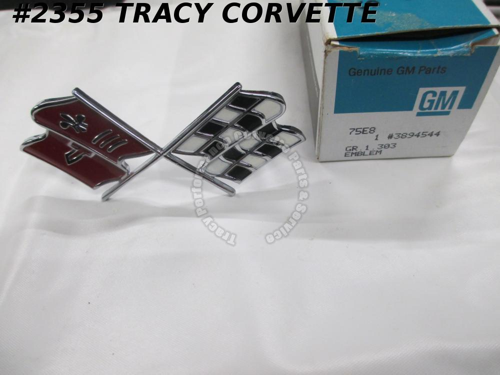 1967 Corvette NOS 3894544 Nose Emblem Cross Flag Nice Paint