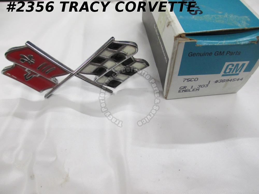 1967 Corvette NOS 3894544 Nose Emblem Cross Flag Needs Touchup Paint