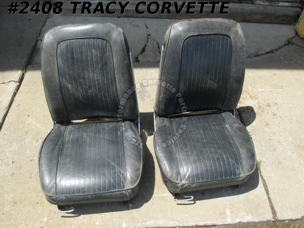 1963 Corvette Used Correct Original Black Seats w/Tracks/Pair to be Restored