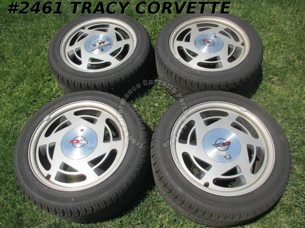 1988-1989 Corvette Used Original Wheels, Caps, Locks, Key w/New Tires/4 88 89