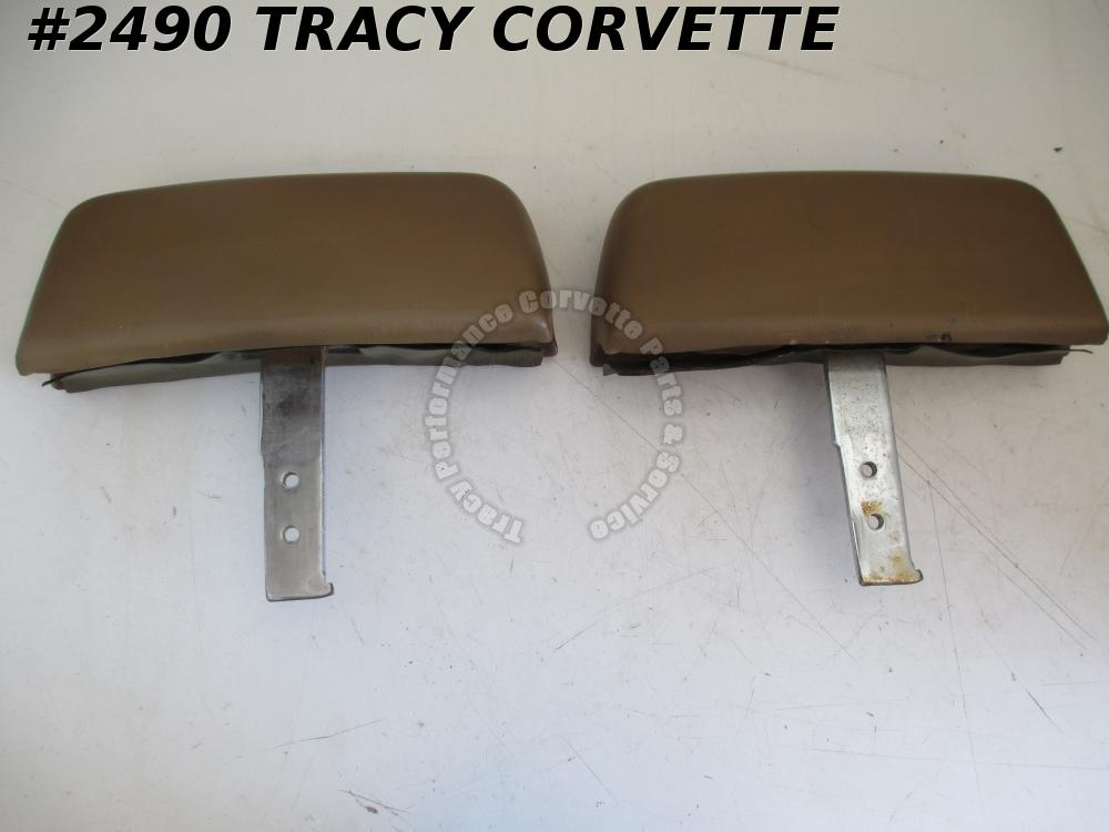 1968-69 Corvette Original 1 Piece Molded Headrest Head Rest Saddle/Pr Option A82