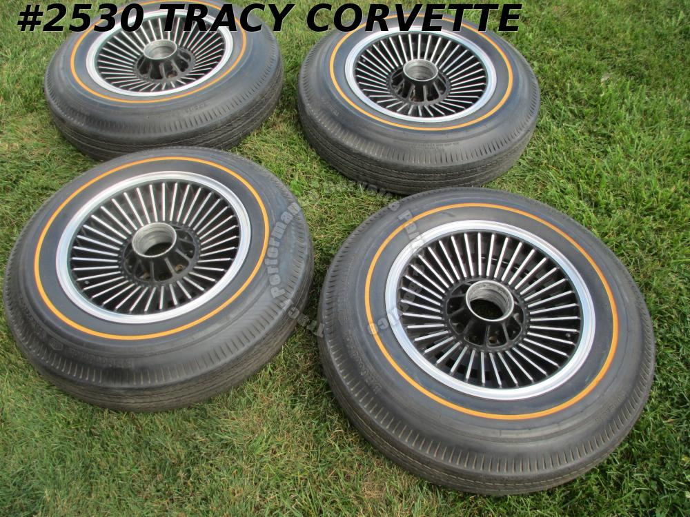 1965-1966 Corvette Used Repro Knock-Off Wheels/Spinners/Nuts/Gold Line Tires/Set