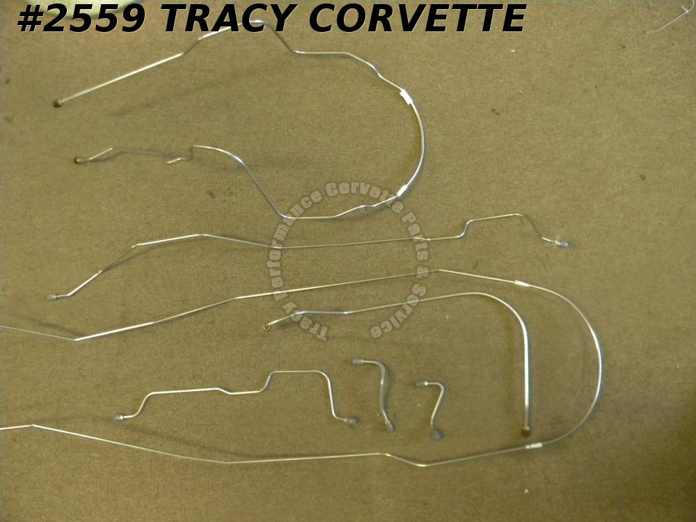 1974-1982 Corvette Brake Line Set Stainless Steel Standard Disc Complete 8Pieces