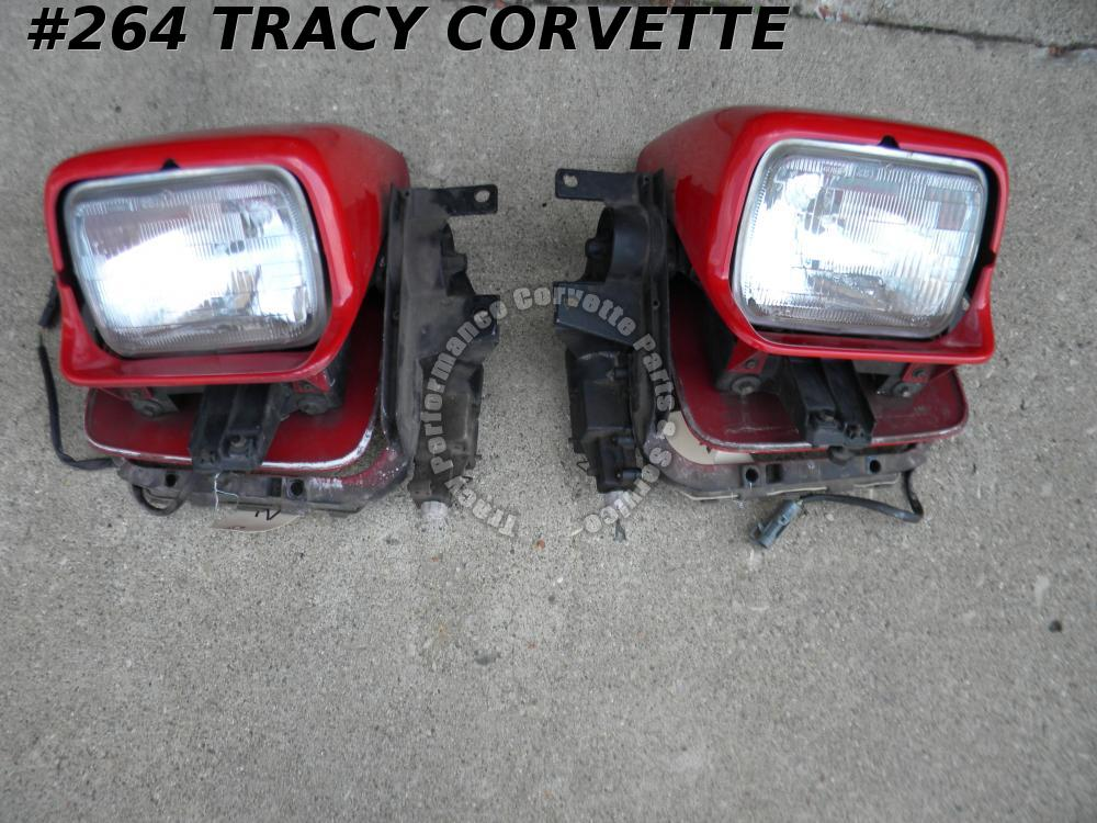 1984 1985 1986 1987 Corvette Complete Used Headlight Assemblies with Motors/Pair
