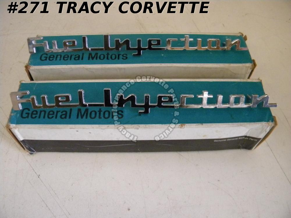 1957 Corvette Chevy NOS GM 3742212 Fuel Injection Emblems/Pr Real FI Side Fender