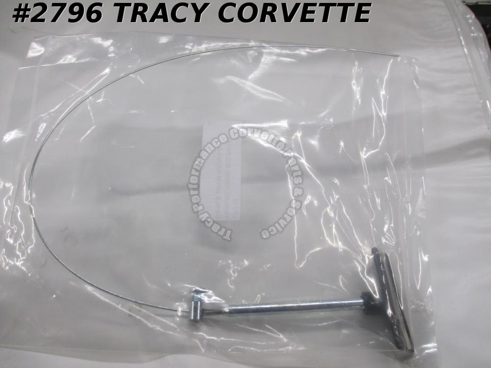 1980-1982 Corvette New Repro Hood Under Dash Release Cable with Handle Cable