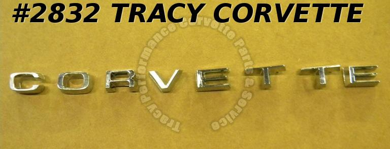 1974-1975 Corvette New Repro 6260519 Rear Panel Letter Set Emblems w/Nuts 74-75