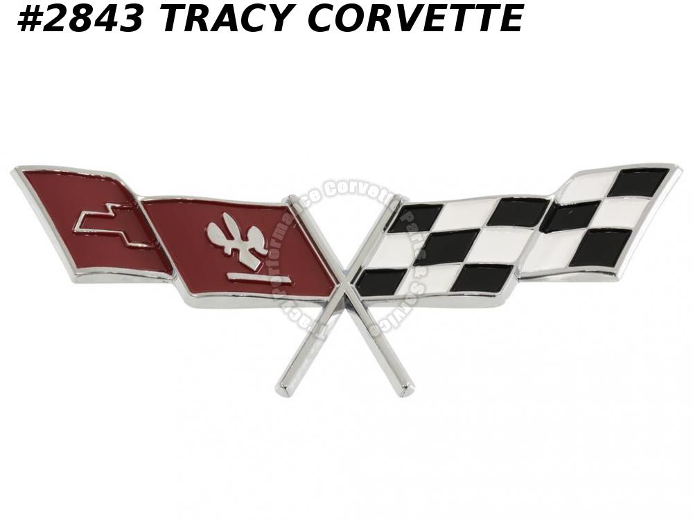 1977 Corvette New 379935 Fuel Gas Door X Flag Emblem