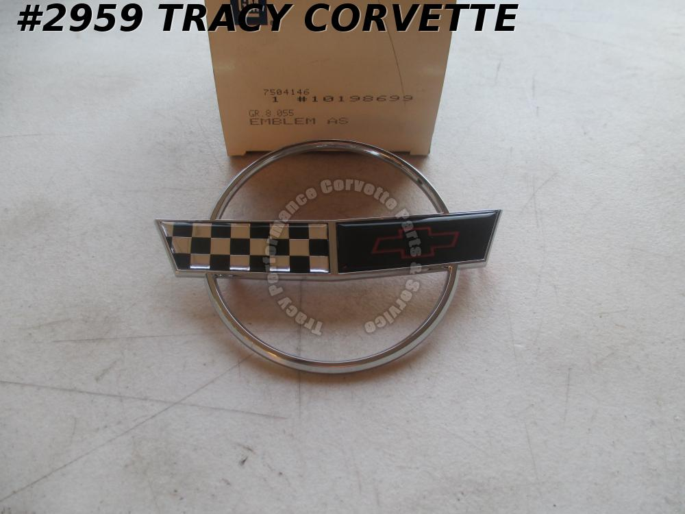 1993-1996 Corvette Hood Nose Emblem Special Edition w/ Chrome Ring NOS 10198699