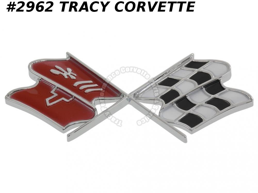 1968E Corvette New Repro 3926487 Fuel Gas Door X Flag Emblem w Rivets/Not Studs