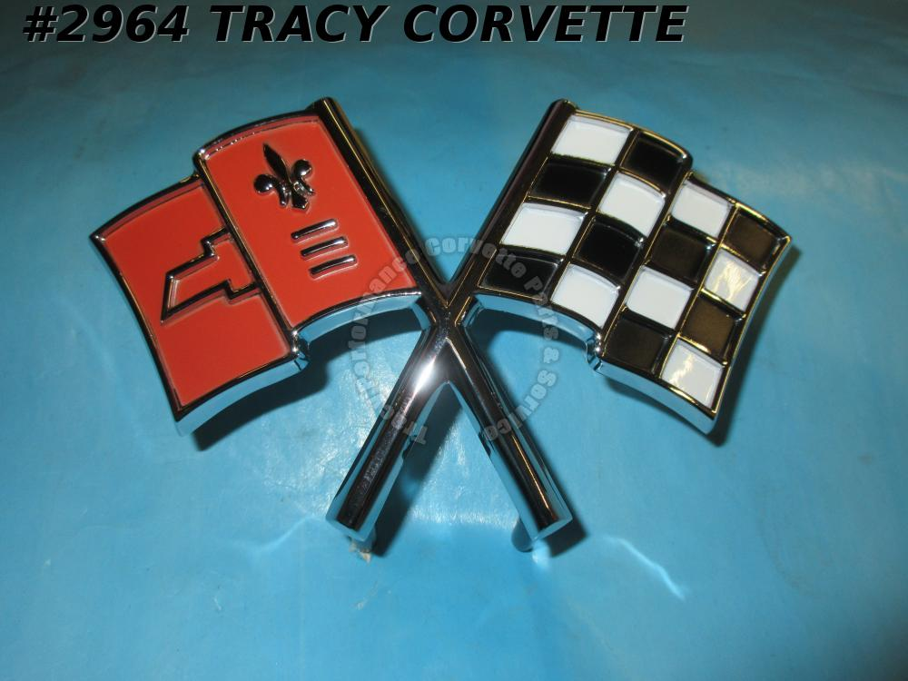 1965 Corvette New Reproduction 3859046 Nose Emblem, Correct Color Cross Flags 65