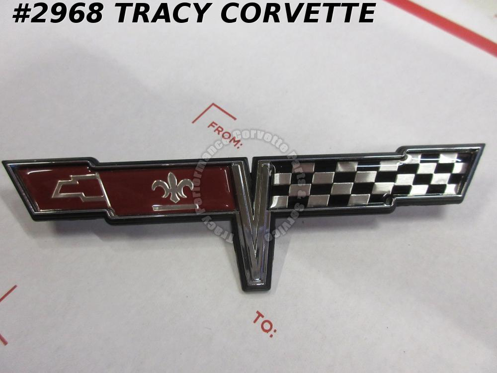 1980 Corvette Gas Door Emblem - Rear Deck Fuel Lid Cross Flags GM# 14016099