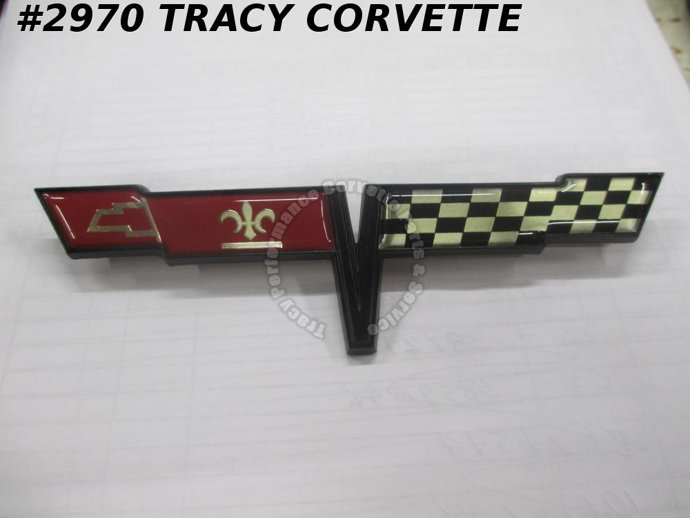 1981 Corvette NOS 14030130 Fuel Gas Door Flag Emblem