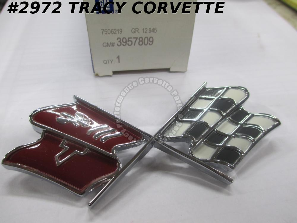 1968L-73 Corvette NOS 3957809 Fuel Gas Door Cross Flag Emblem 68L 69 70 71 72 73