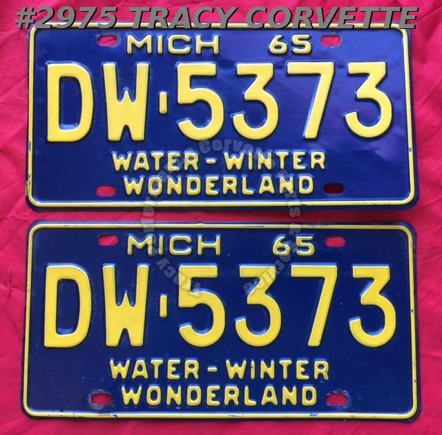 1965 Pair Used Original Michigan License Plates DW-5373 Water-Winter Wonderland