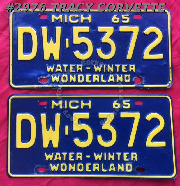 1965 Pair Used Original Michigan License Plates DW-5372 Water-Winter Wonderland