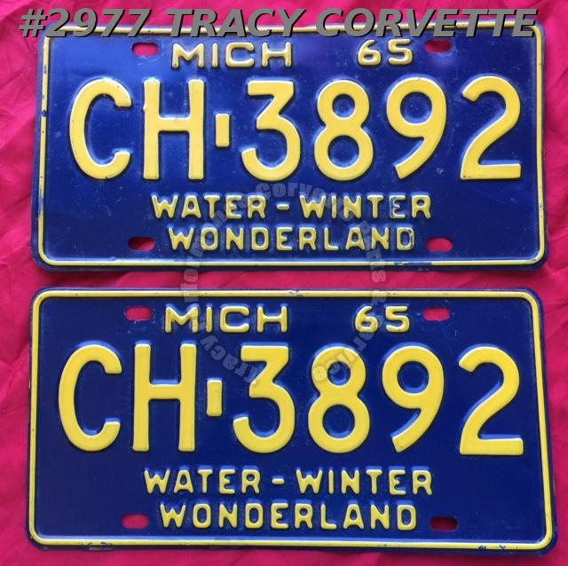 1965 Pair Used Original Michigan License Plates CH 3892 Water-Winter Wonderland