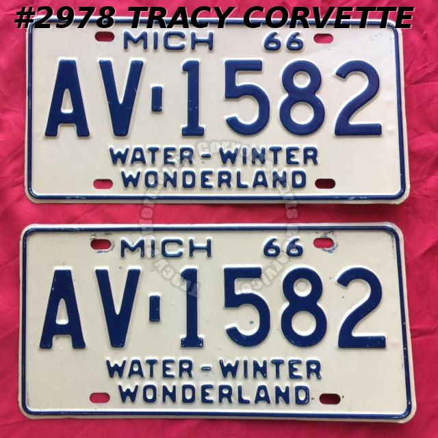 1966 Pair Used Original Michigan License Plates AV 1582 Water-Winter Wonderland