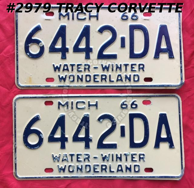1966 66 Michigan Used Original Vintage Metal Michigan License Plates Pr 6442-DA